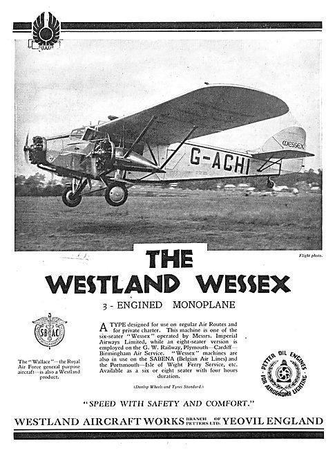 Westland Wessex Three Engined Monoplane Sabena
