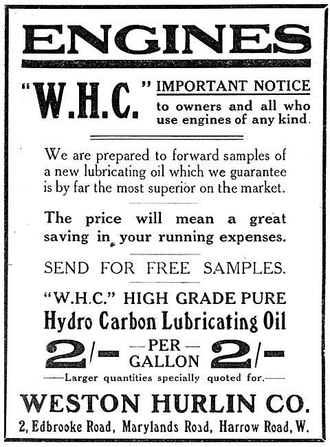 Weston Hurlin. W.H.C High Grade Hydro Carbon Lubricating Oil