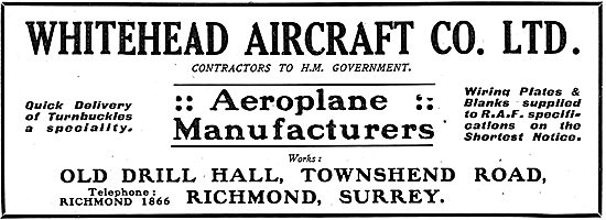 Whitehead Aircraft Co -  - Townshend Rd, Richmond, Surrey