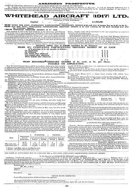 Whitehead Aircraft Co: Abridged Company Prospectus