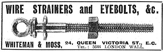 Whiteman & Moss Wire Strainers & Eyebolts For Aeroplane Builders