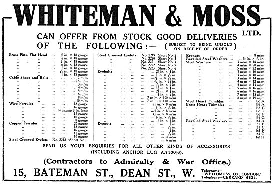 Whiteman & Moss - AGS Parts & Accessories 1916