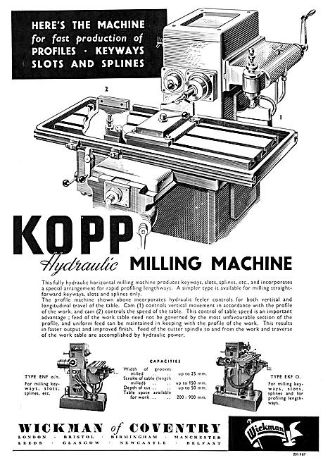 Wickman KOPP Hydraulic Milling Machine