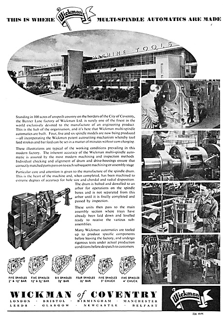 Wickman Machine Tools & Test Equipment Mulit Spindle Automatics