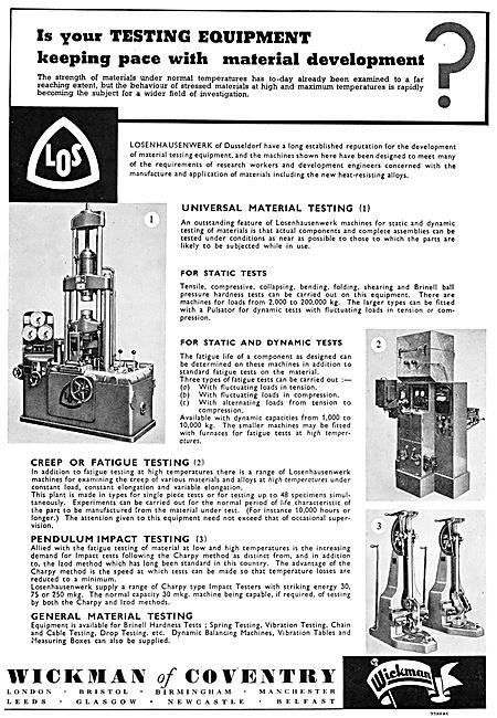 Wickman Machine Tools & Test Equipment