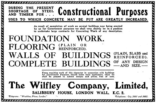 Wilfley WW1 Steel Buildings & Aircraft Hangars - 1917 Advert