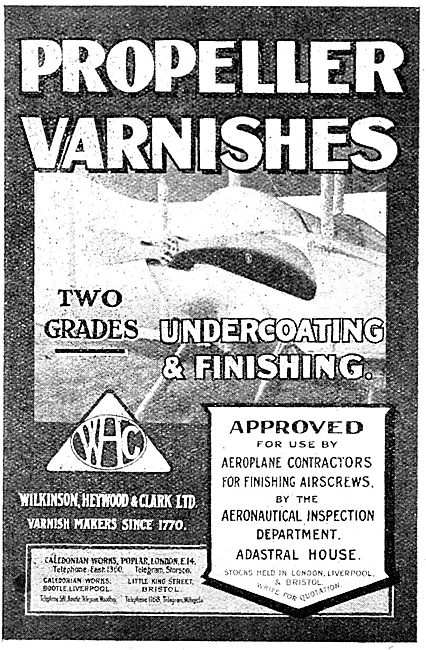 Wilkinson Heywood & Clark:- Aeroplane Paints & Varnishes 1917