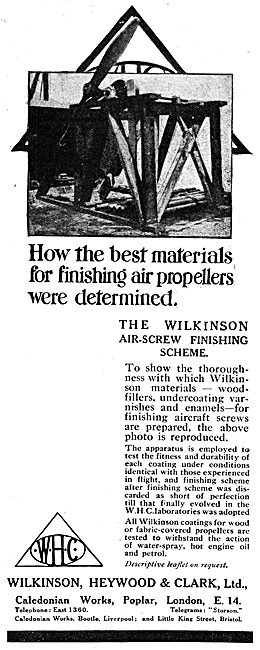 Wilkinson Heywood & Clark. Propellor Varnishes. WW1 Advert