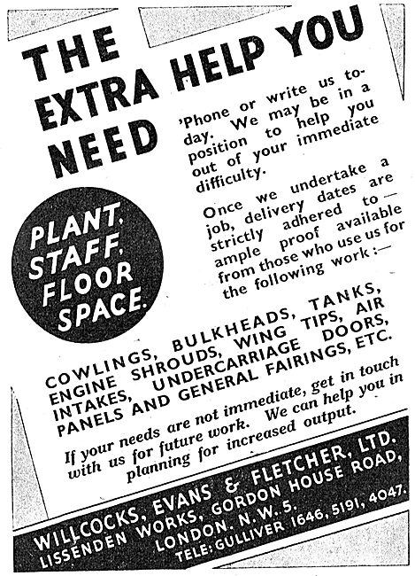 Willcocks, Evans & Fletcher. Sheet Metal Work 1943 Advert