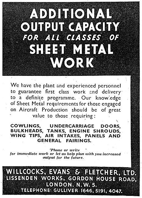 Willcocks, Evans & Fletcher. Sheet Metal Work