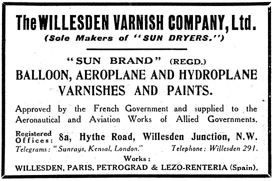 Willesden Varnish Co. Varnishes & Paints