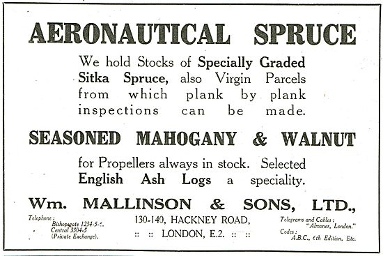 William Mallinson Aeronautical Spruce In Stock