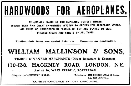 William Mallinson -Timber & Veneers For Aeroplanes