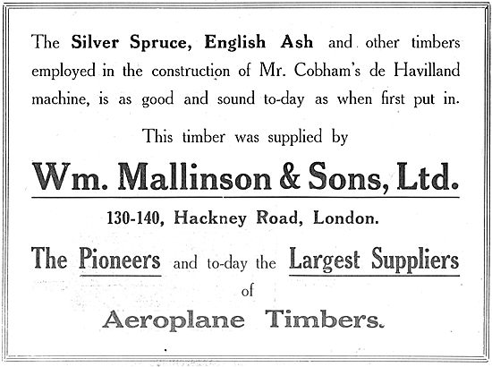 William Mallinson & Sons  For Aircraft Grade Silver Spruce & Ash