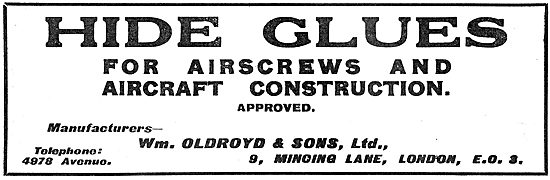 William Oldroyd & Sons - Hide Glues For Aircraft Construction