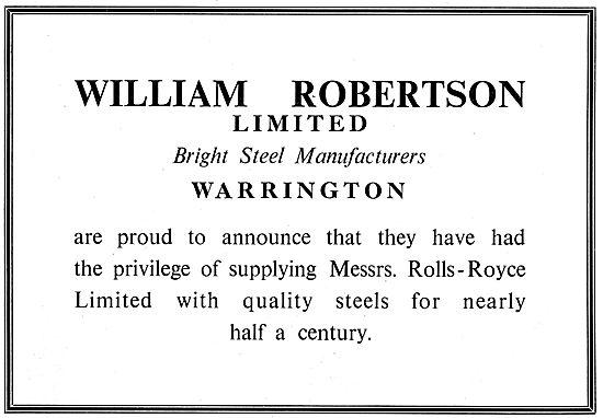 William Robertson Ltd. Warrington. Bright Steel Manufacturers