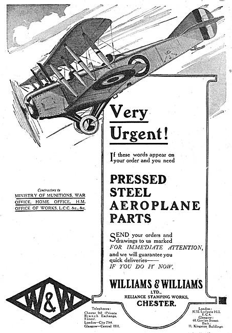 Williams & Williams - Aeronautical Engineers. Pressed Steel Parts