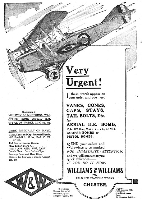 Williams & Williams - Engineers. Parts For Aerial Bombs & Mines