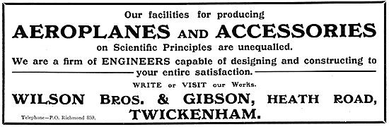 Wilson Brothers & Gibson. Aeroplanes & Accessories