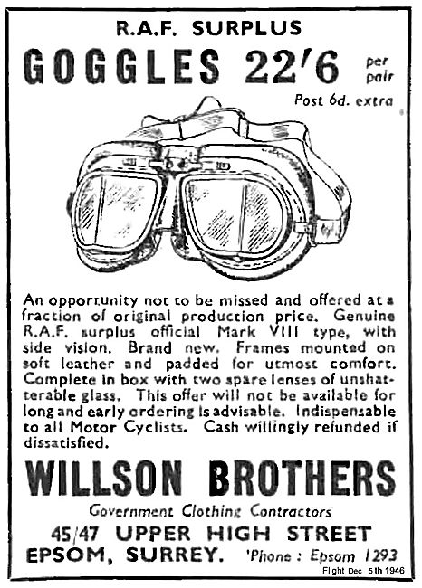 Willson Brothers RAF Surplus Equipment. Flying Goggles 22/6