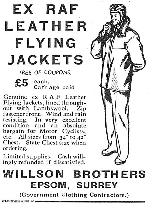 Willson Brothers Ex RAF Leather Flying Jackets £5.00 (No Coupons)