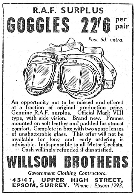 Willson Brothers Government Surplus Clothing  Flying Goggles 1947