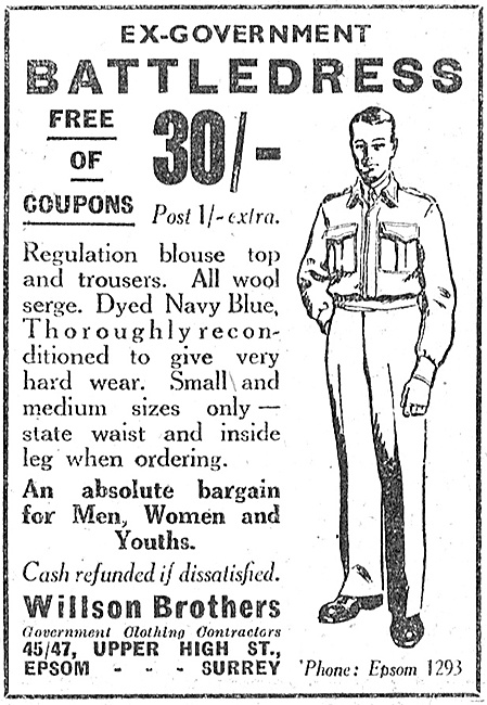 Willson Brothers Government Surplus Clothing. Battledress