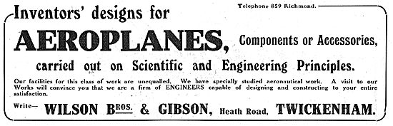 Wilson Bros & Gibson - Aeroplane & Component Manufacturers