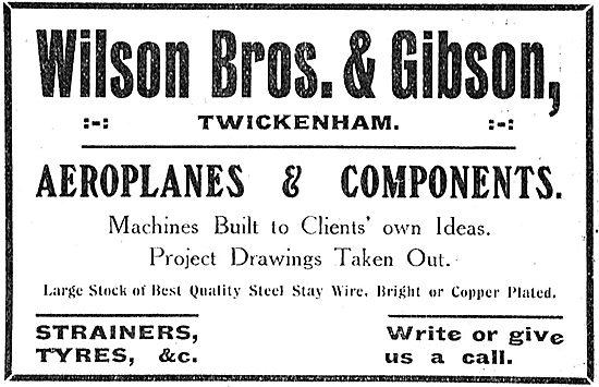 Wilson Bros & Gibson Twickenham - Maufactuerers Of Aeroplanes