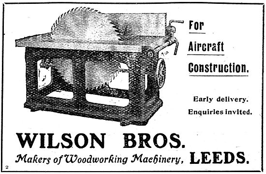 Wilson Bros Woodworking Machinery - 1917 Advert