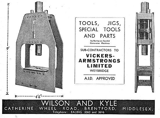Wilson & Kyle. Wheel Rd, Brentford. Jigs, Tools & Special Parts