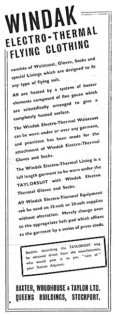 Baxter Woodhouse & Taylor Windak Electro Thermal Flying Clothing
