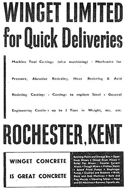 Winget Engineering Concrete - 1941 Advert