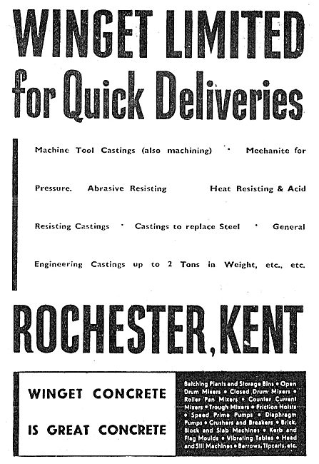 Winget Ltd. Engineers & Concrete Machinery Manufacturers 1943