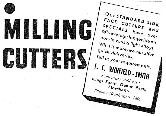 S.C.Winfield-Smith Milling Cutters & Face Cutters 1943