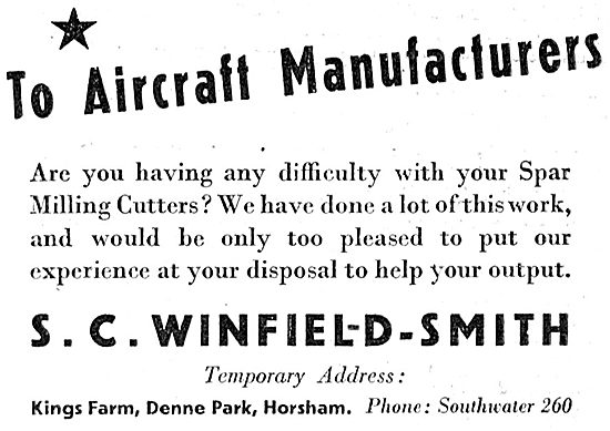 S.C.Winfield-Smith Aircraft Spar Milling Cutters 1943