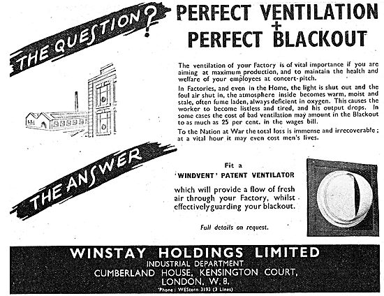 Winstay Holdings Windvent Factory Ventilator . A.R.P. 1942