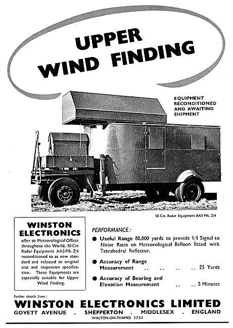 Winston Electronics. Shepperton : Upper Wind Finding Radar