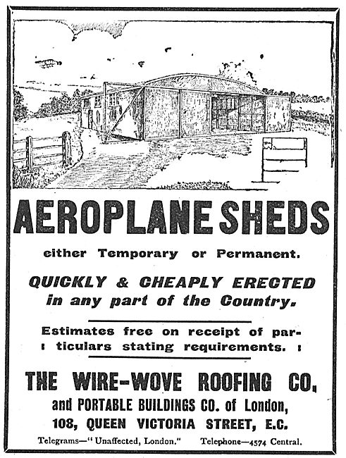 Wire Wove Aeroplane Sheds Cheaply & Quickly Erected.