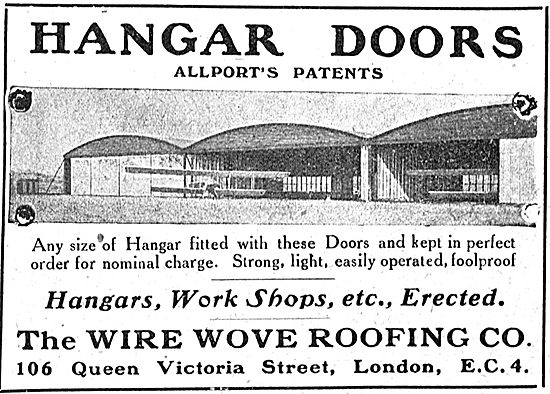 Wire Wove Roofing Co. Allport's Patents. Aeroplane Hangar Doors