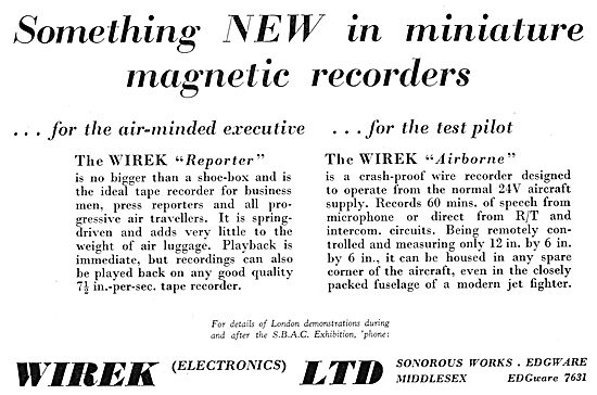 Wirek Reporter - Wirek Airborne. Tape & Wire Recorders