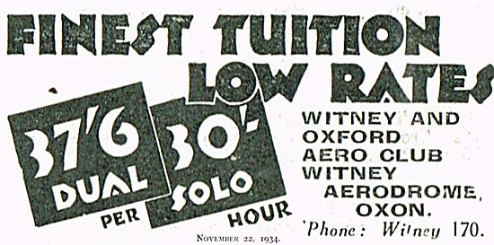 Witney & Oxford Aero Club Tuition Rates