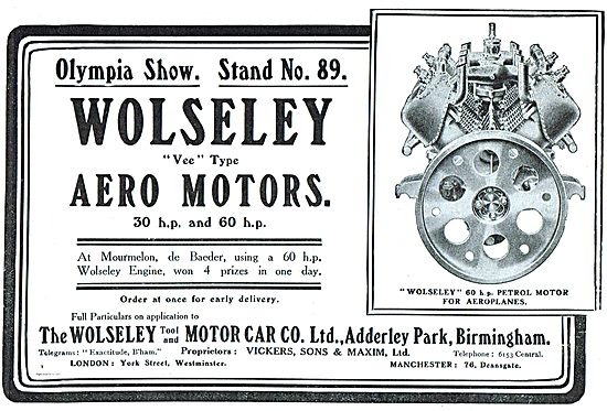 Wolseley Vee Type Aero Motors: 30 hp and 60 hp.