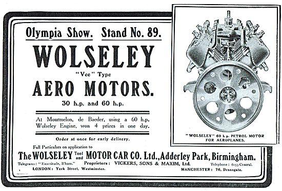 Wolseley Vee Type Aero Motors: 30 hp and 60 hp.