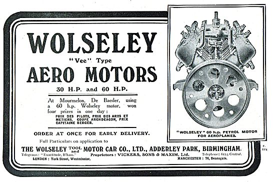 Wolseley 30 & 60 HP Vee Type Aero Motors