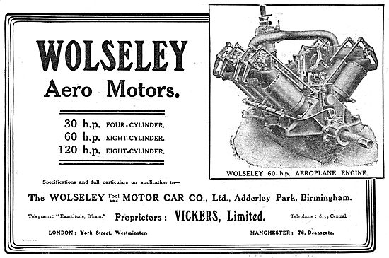 Wolseley Aero Motors 30hp 60hp 120hp Eight-Cylinder