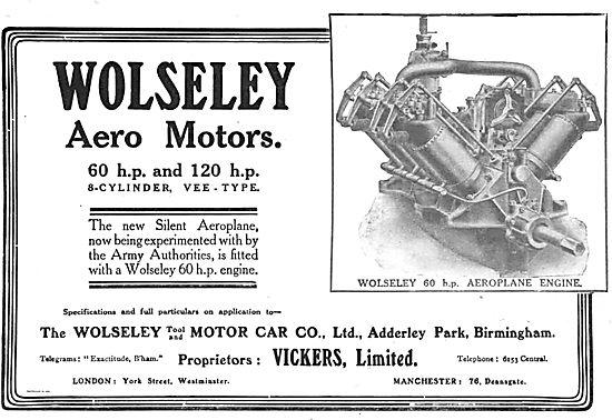 Wolseley 60 & 120hp Aero Motors - 8 Cylinder Vee-Type