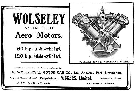Vickers Wolseley Aero Engines 1913