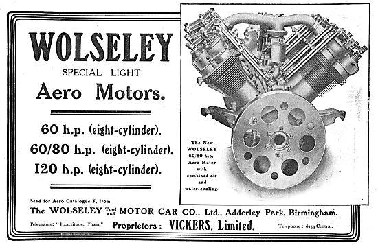 Wolseley Special Light Aero Motors - 60-120 HP