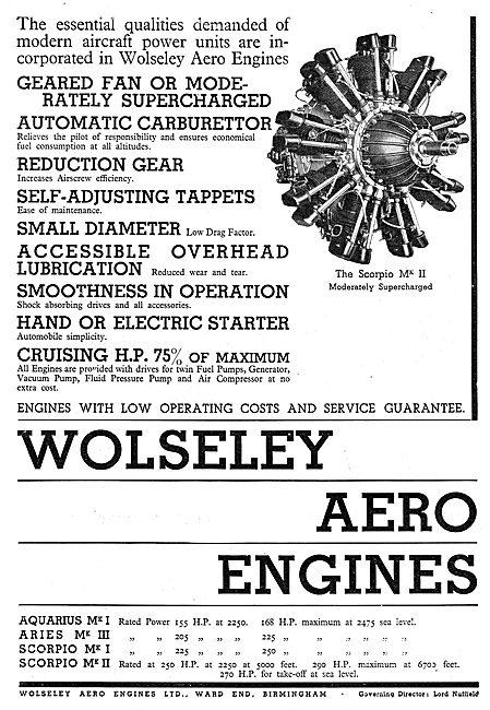 Wolseley Aero Engines Features